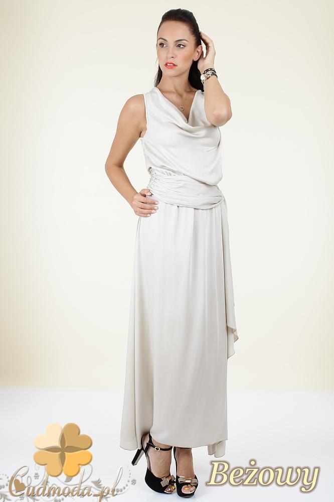 CM0297 Długa rozkloszowana sukienka maxi - beżowa