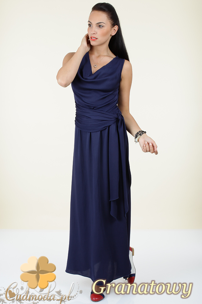 CM0297 Długa rozkloszowana sukienka maxi - granatowa