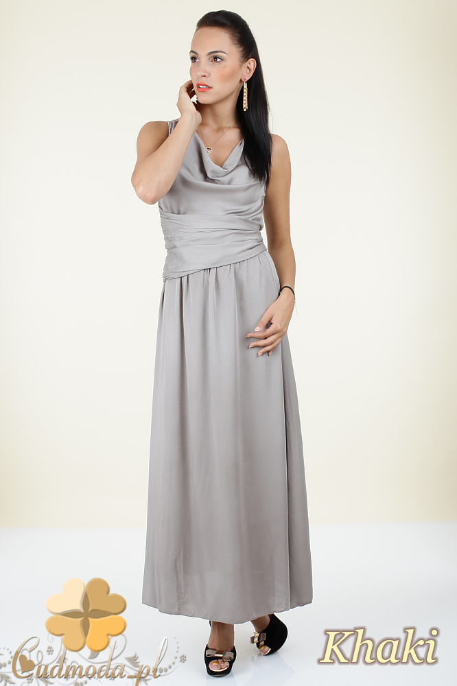 CM0297 Długa rozkloszowana sukienka maxi - khaki