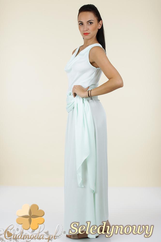 CM0297 Długa rozkloszowana sukienka maxi - seledynowa