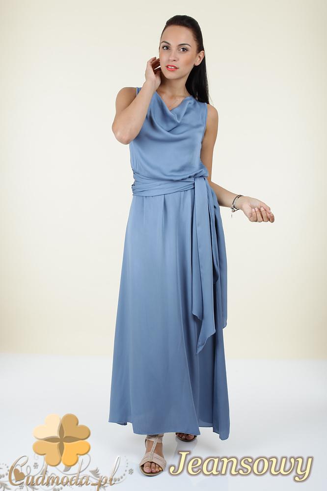 CM0297 Długa rozkloszowana sukienka maxi - jeansowa