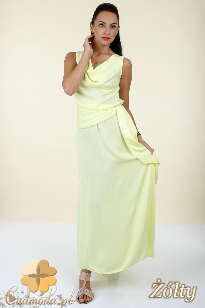 CM0297 Długa rozkloszowana sukienka maxi - żółta