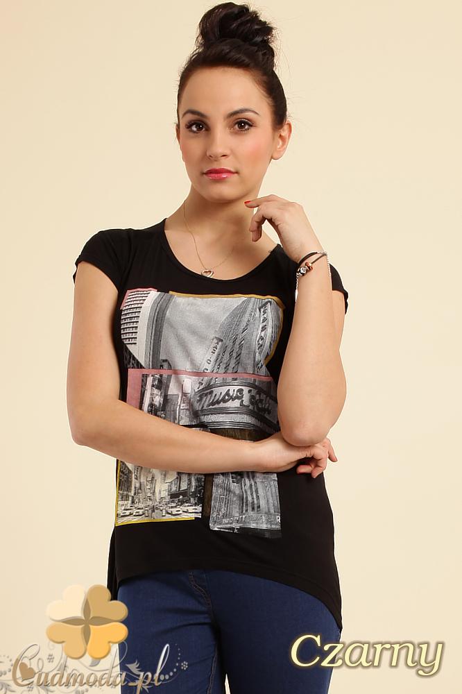 CM0233 Modna bluzka t-shirt tunika kimono - czarna