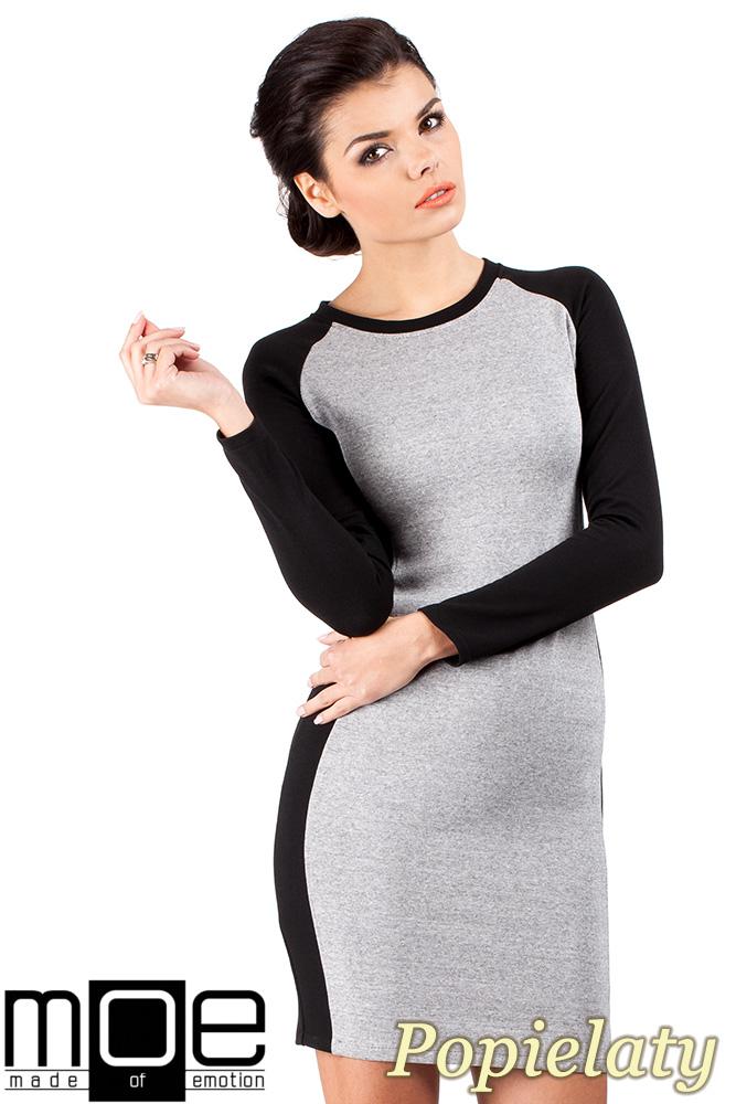CM0327 Klasyczna dwukolorowa sukienka mini - popielata