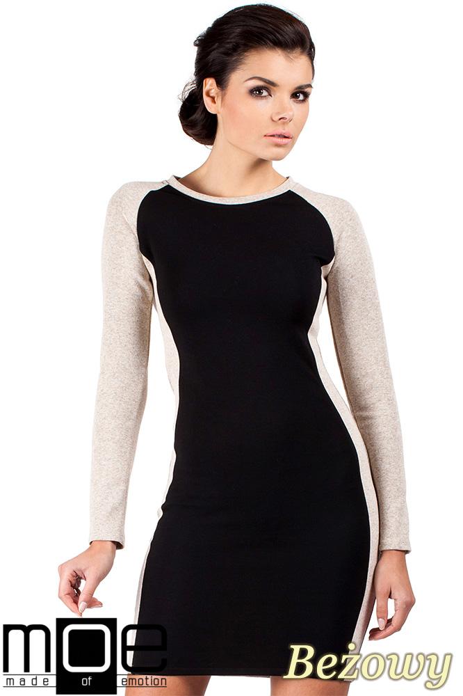 CM0328 Dwukolorowa sukienka mini - beżowa