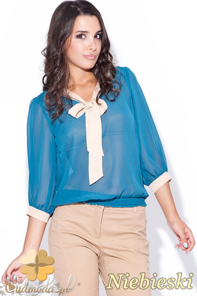 CM0448 KATRUS K034 Bluzka damska z wišzanym żabotem - niebieska