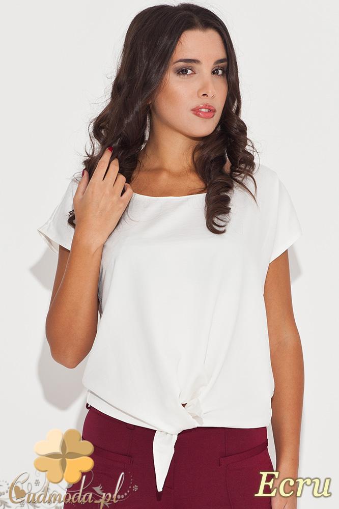 CM0449 KATRUS K050 Wišzana bluzka damska z krótkim rękawem - ecru
