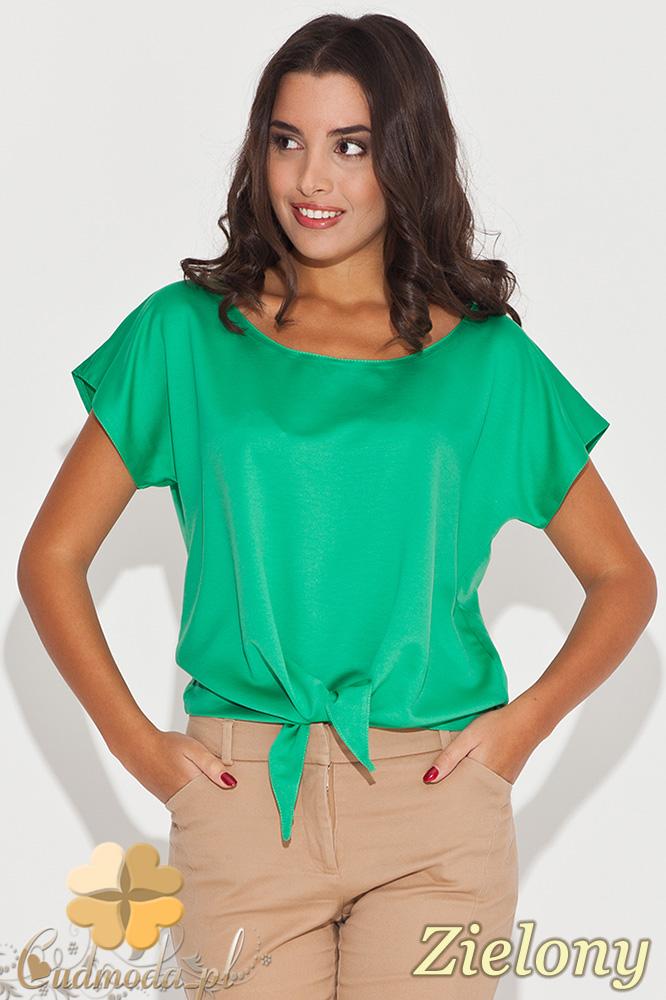 CM0449 KATRUS K050 Wišzana bluzka damska z krótkim rękawem - zielona