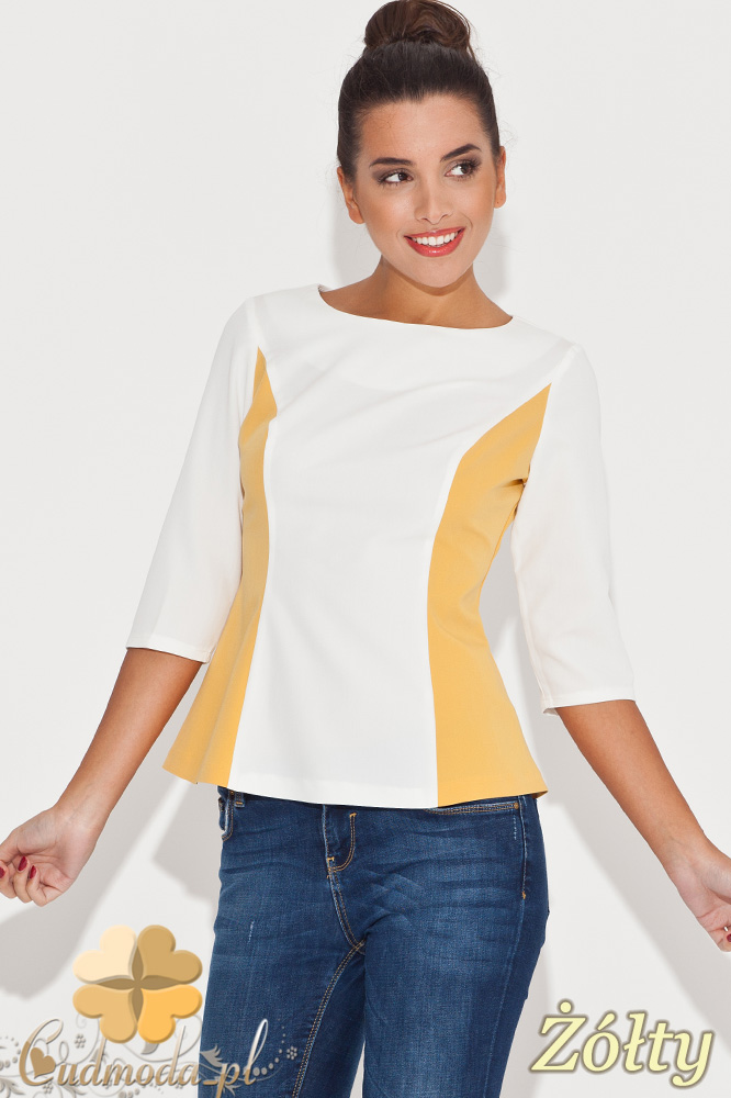 CM0450 KATRUS K065 Rozkloszowana bluzka damska dwukolorowa - żółta