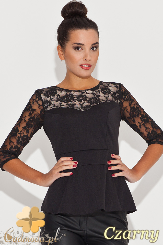CM0451 KATRUS K071 Kobieca bluzka z baskinkš i koronkowym rękawem - czarna