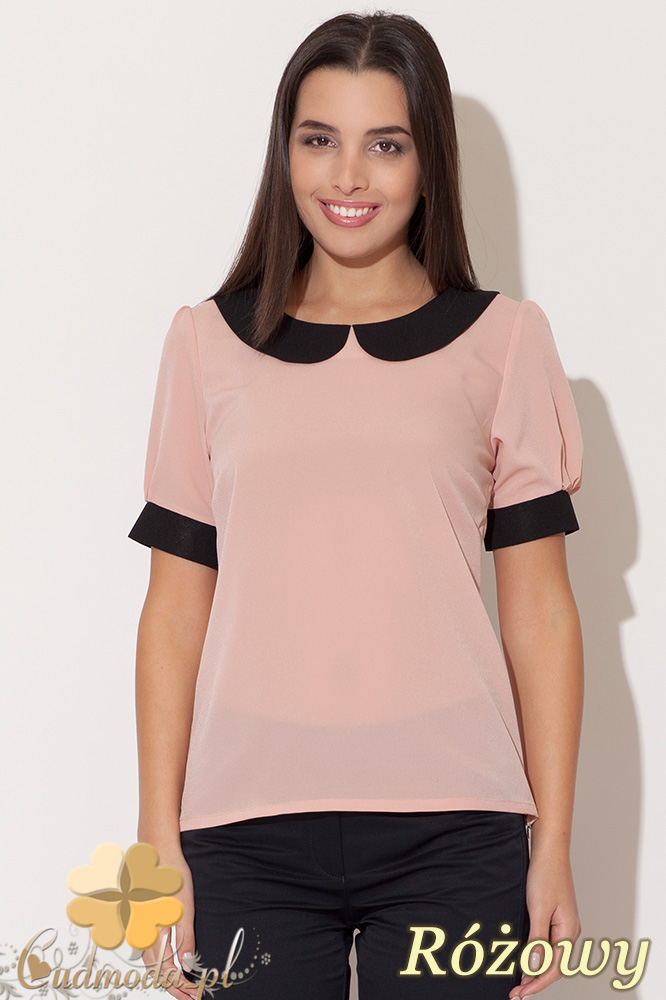 CM0455 KATRUS K088 Szyfonowa bluzka damska z kołnierzykiem - różowa