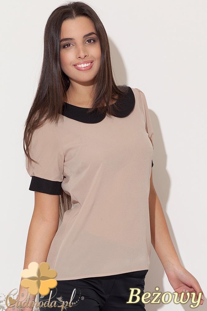 CM0455 KATRUS K088 Szyfonowa bluzka damska z kołnierzykiem - beżowa