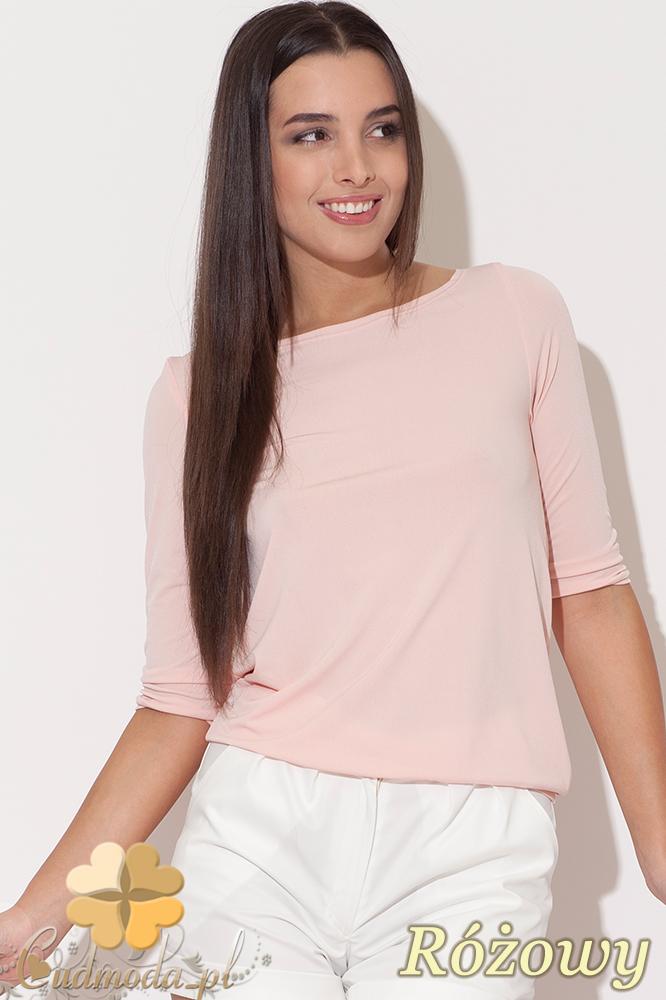 CM0456 KATRUS K091 Bluzka damska z odkrytymi plecami - różowa