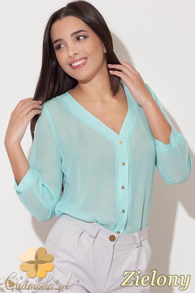 CM0457 KATRUS K089 Koszulowa bluzka damska ze złotymi guzikami - zielona