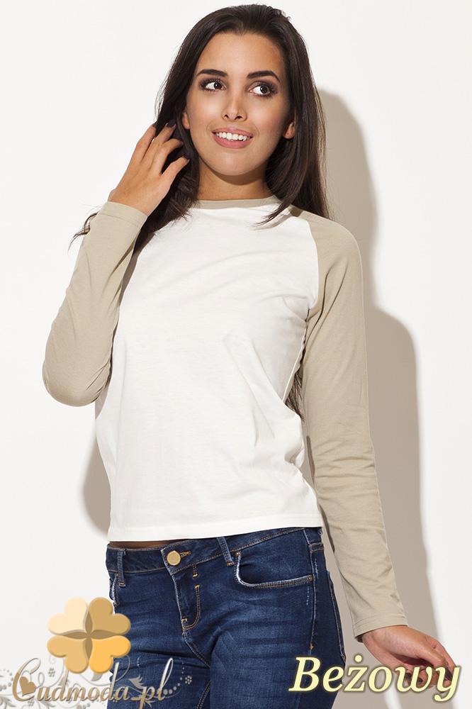 CM0461 KATRUS K108 Dwukolorowa bluzka damska w sportowym stylu - beżowa