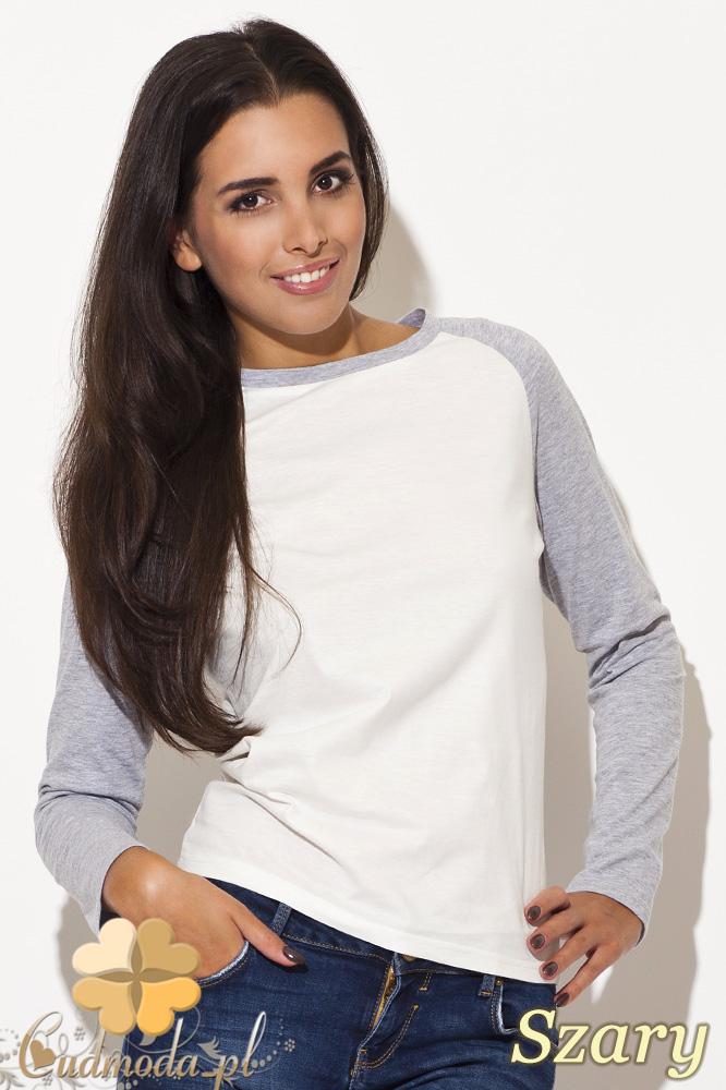 CM0461 KATRUS K108 Dwukolorowa bluzka damska w sportowym stylu - szara