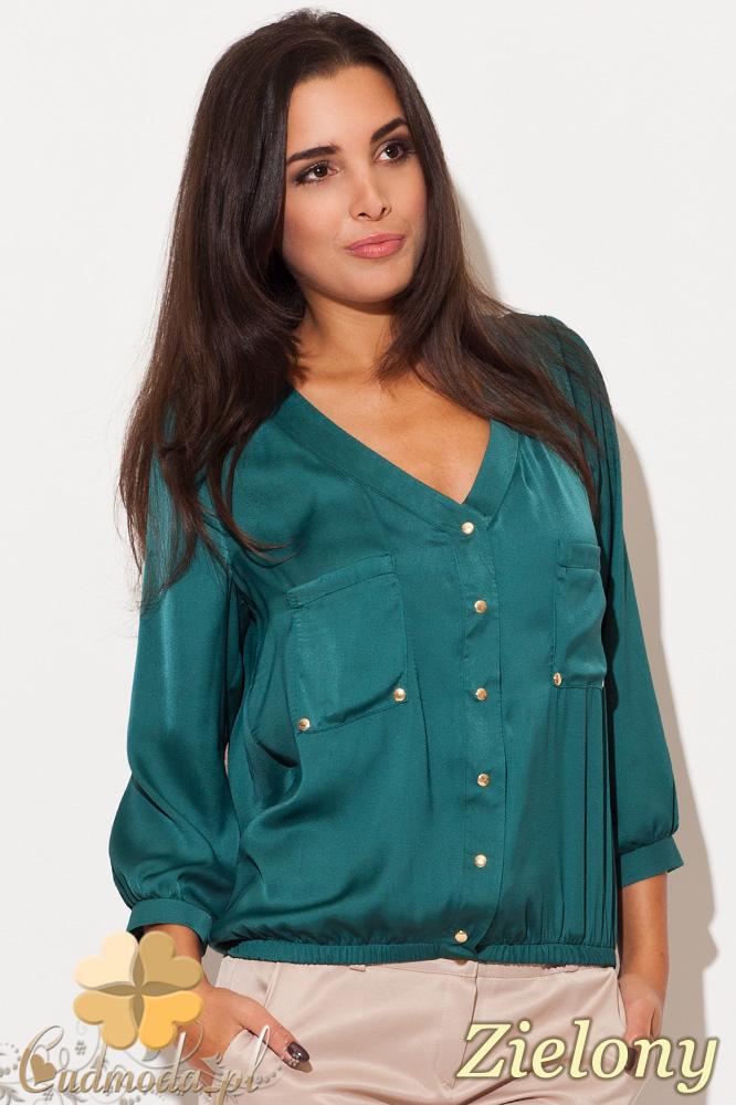 CM0462 KATRUS K115 Bluzka damska koszulowa złote guziki - zielona