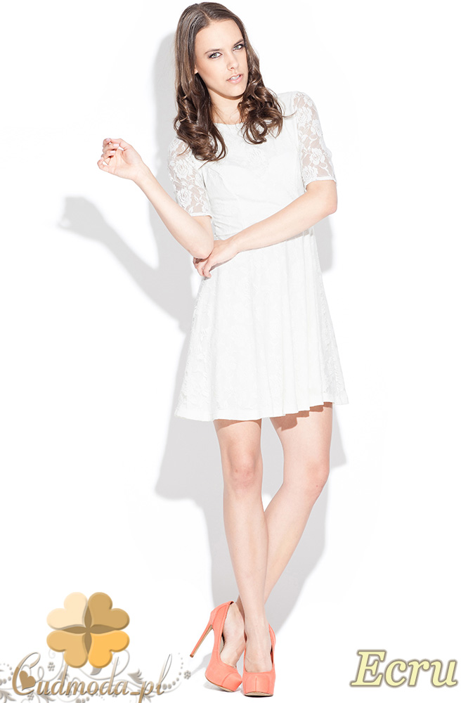CM0463 KATRUS K003 Koronkowa sukienka rozkloszowana - ecru