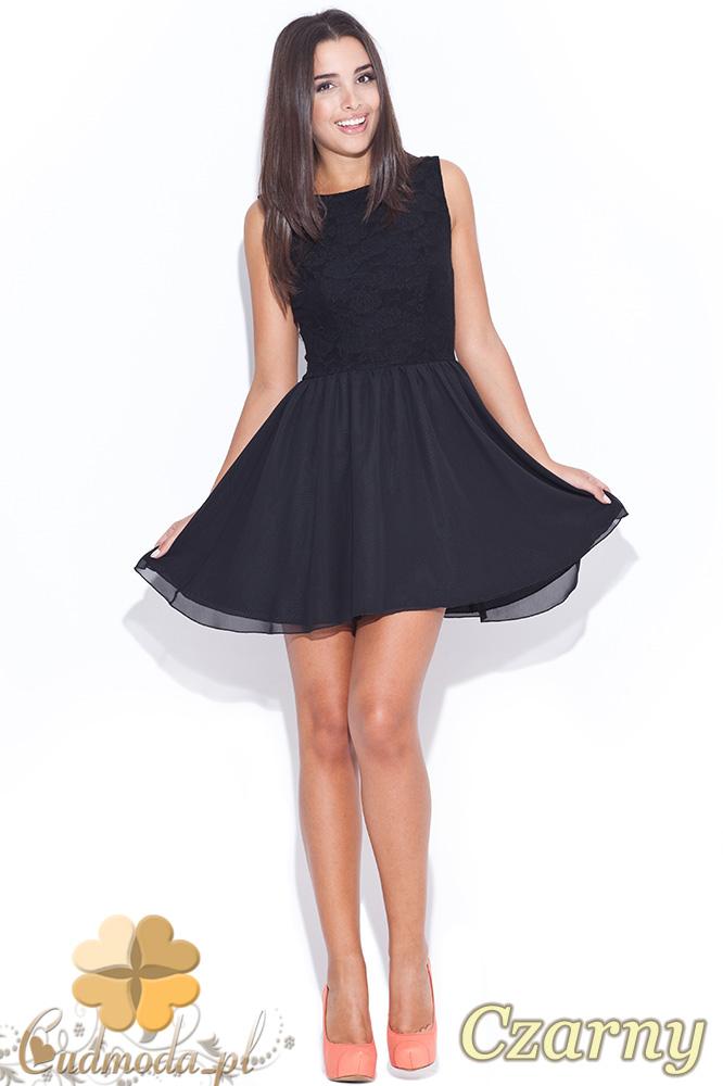 CM0464 KATRUS K007 Koronkowo - tiulowa sukienka bez rękawków - czarna