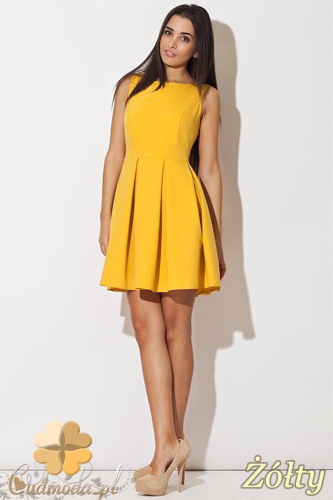 ee3e453f07 CM0489 KATRUS K128 Sukienka kontrafałda bez rękawów - żółta