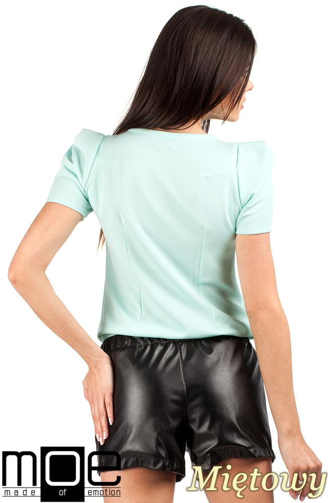 CM0728 Bluzka damska z bufkami i krótkim rękawem - miętowa