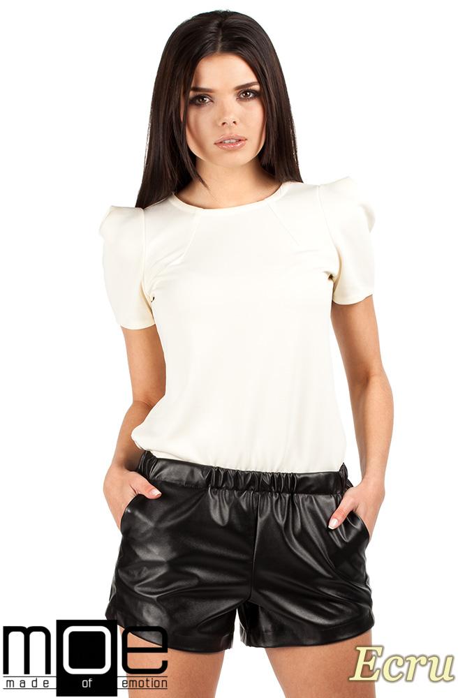 CM0728 Bluzka damska z bufkami i krótkim rękawem - ecru