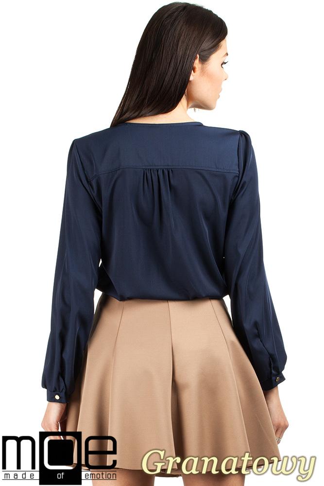 CM0761 Elegancka bluzka damska dekolt V - granatowa