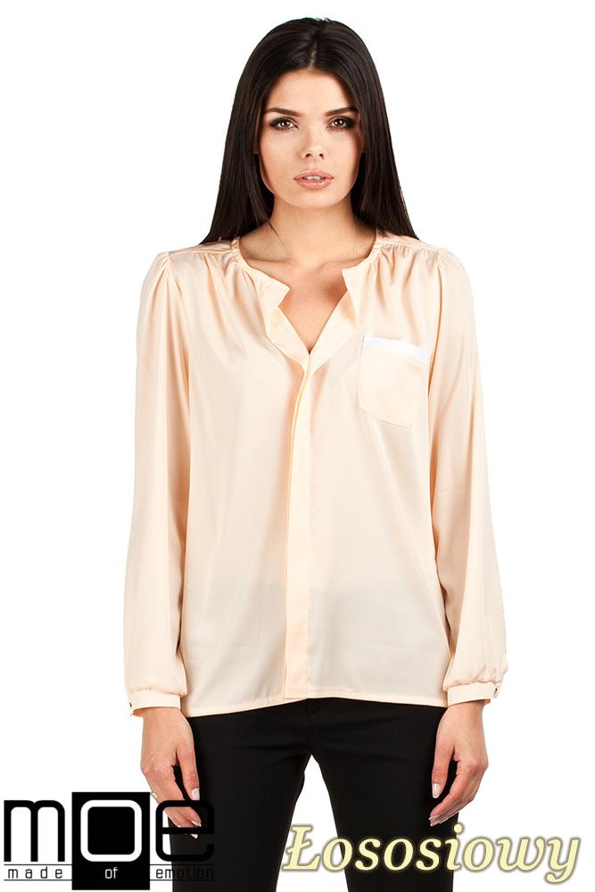 CM0761 Elegancka bluzka damska dekolt V - łososiowy