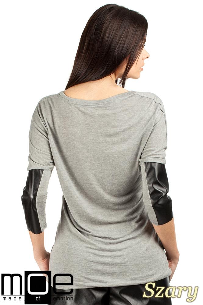 CM0762 Zwiewna bluzka damska z rękawem 3/4 ze skórzanymi wstawkami - szara