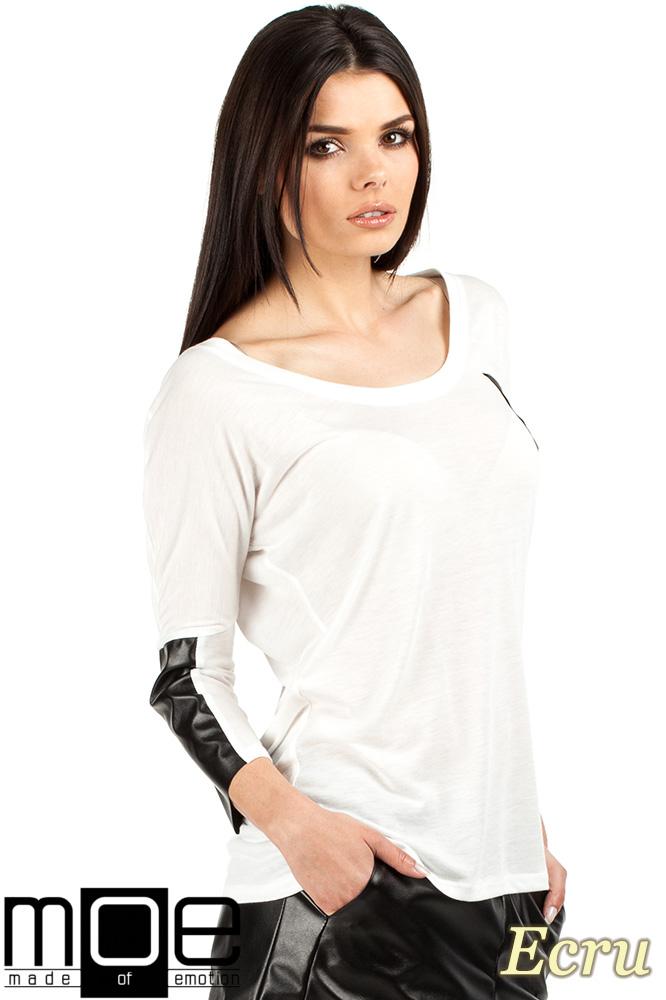 CM0762 Zwiewna bluzka damska z rękawem 3/4 ze skórzanymi wstawkami - ecru