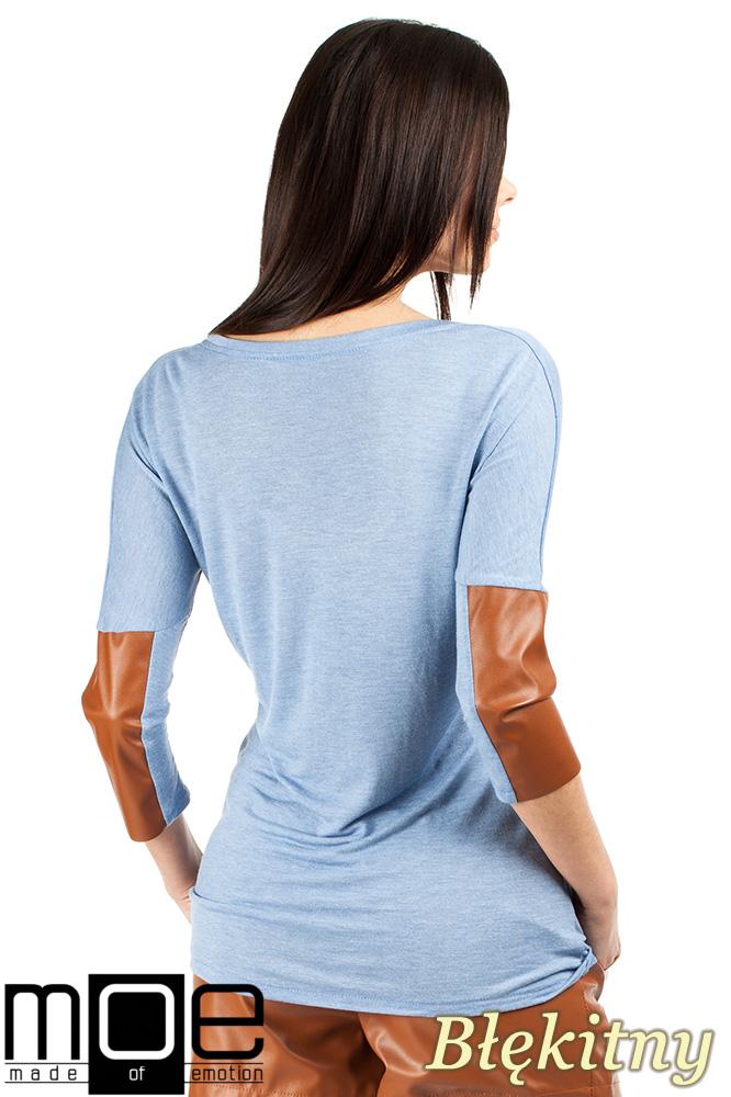 CM0762 Zwiewna bluzka damska z rękawem 3/4 ze skórzanymi wstawkami - błękitna