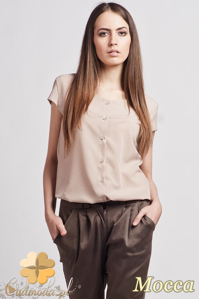CM0770 LANTI K102 Rozpinana bluzka koszulowa z krótkim rękawem - mocca