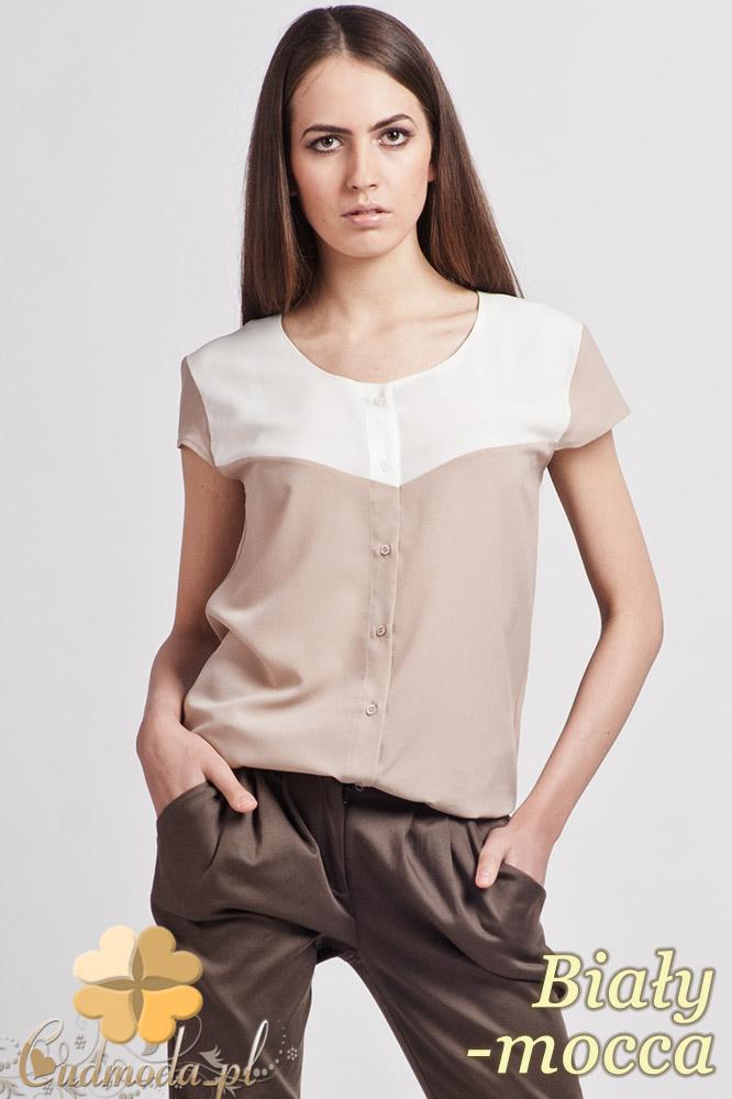 CM0770 LANTI K102 Rozpinana bluzka koszulowa z krótkim rękawem - biała - mocca