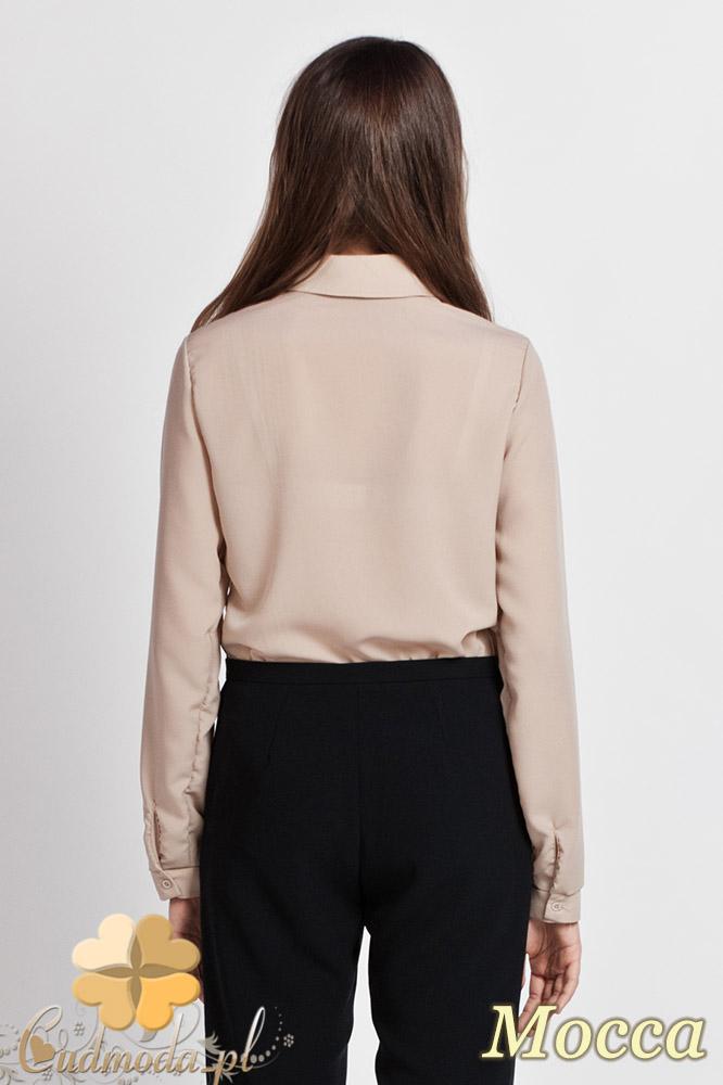 CM0771 LANTI K101 Klasyczna koszula damska z krytymi guzikami - mocca