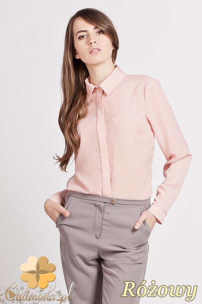 CM0771 LANTI K101 Klasyczna koszula damska z krytymi guzikami - różowa