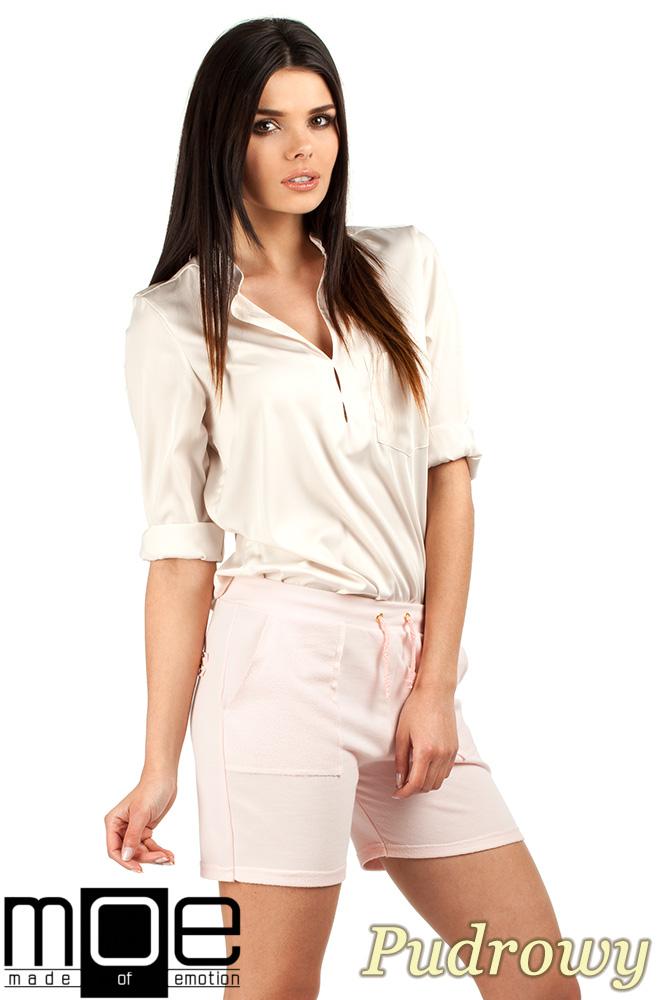 CM0765 Dresowe szorty damskie z kieszeniami - pudrowe OUTLET