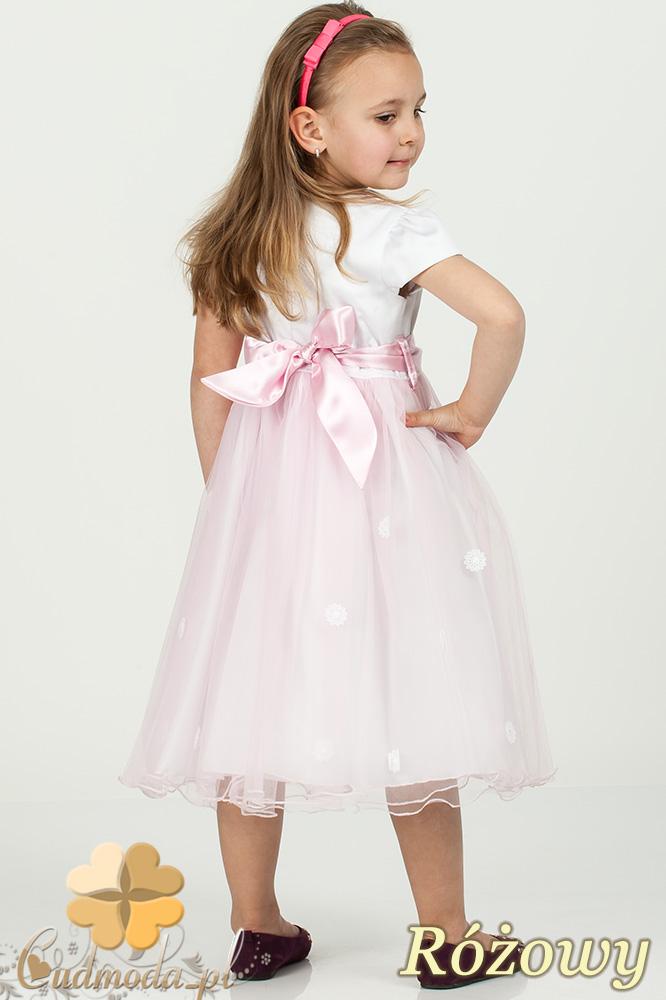 MA053 Dziecięca sukienka princeska tiulowy dół - różowa