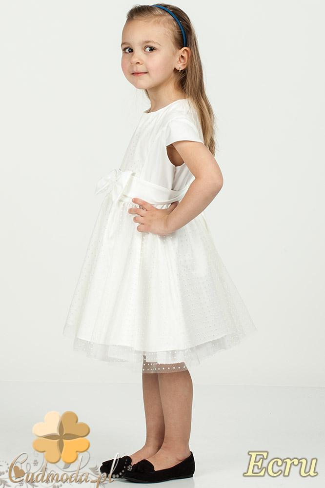MA058 Tiulowa sukienka dziewczęca w kropeczki - ecru