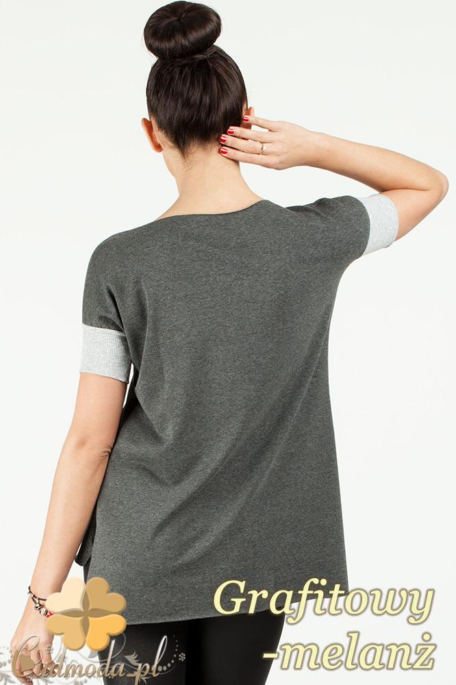 CM0772 Asymetryczna bluzka damska ze ściągaczami - grafitowy melanż