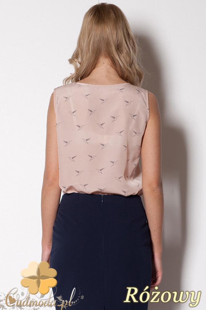 CM0780 FIGL M253 Zwiewna bluzka damska bez rękawów - różowa