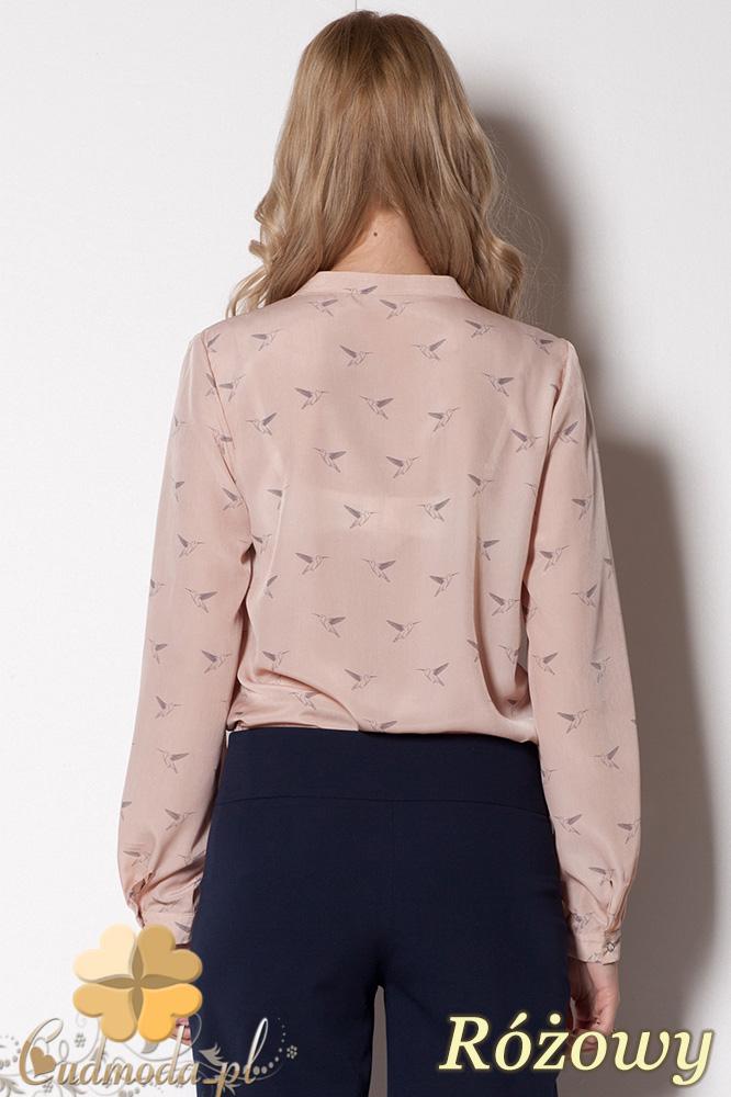 CM0781 FIGL M254 Zwiewna bluzka koszulowa w ciekawy wzór - różowa