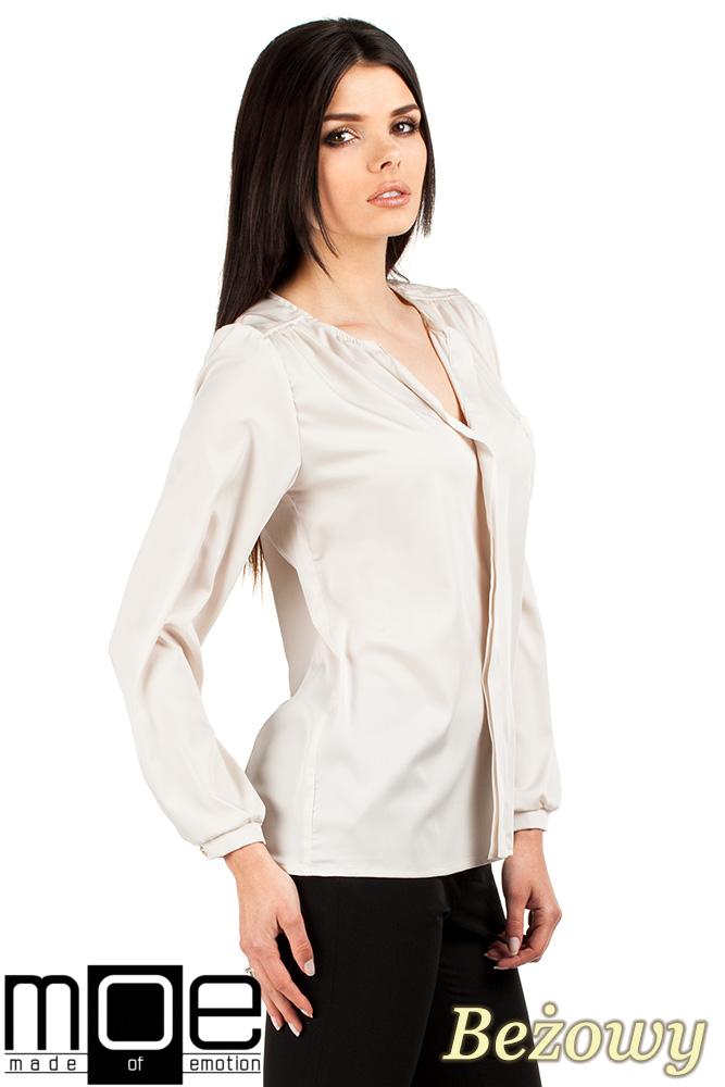 CM0761 Elegancka bluzka damska dekolt V - beżowa