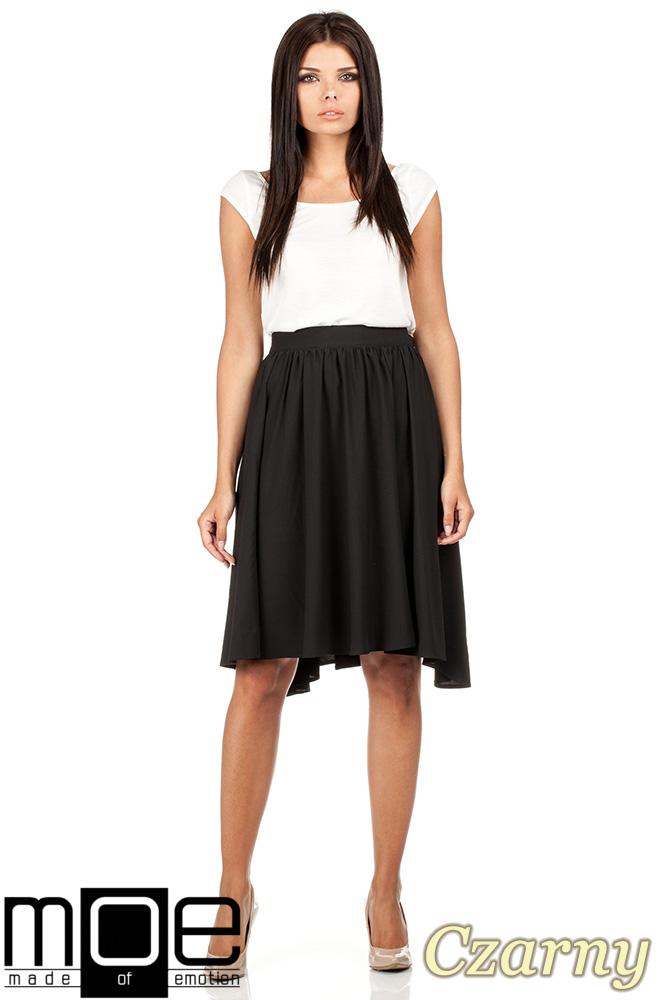 CM0779 Zwiewna spódnica midi z asymetrycznymi bokami - czarna