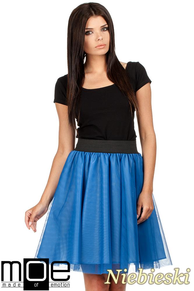 CM0782 Tiulowa spódnica z koła na podszewce - niebieska