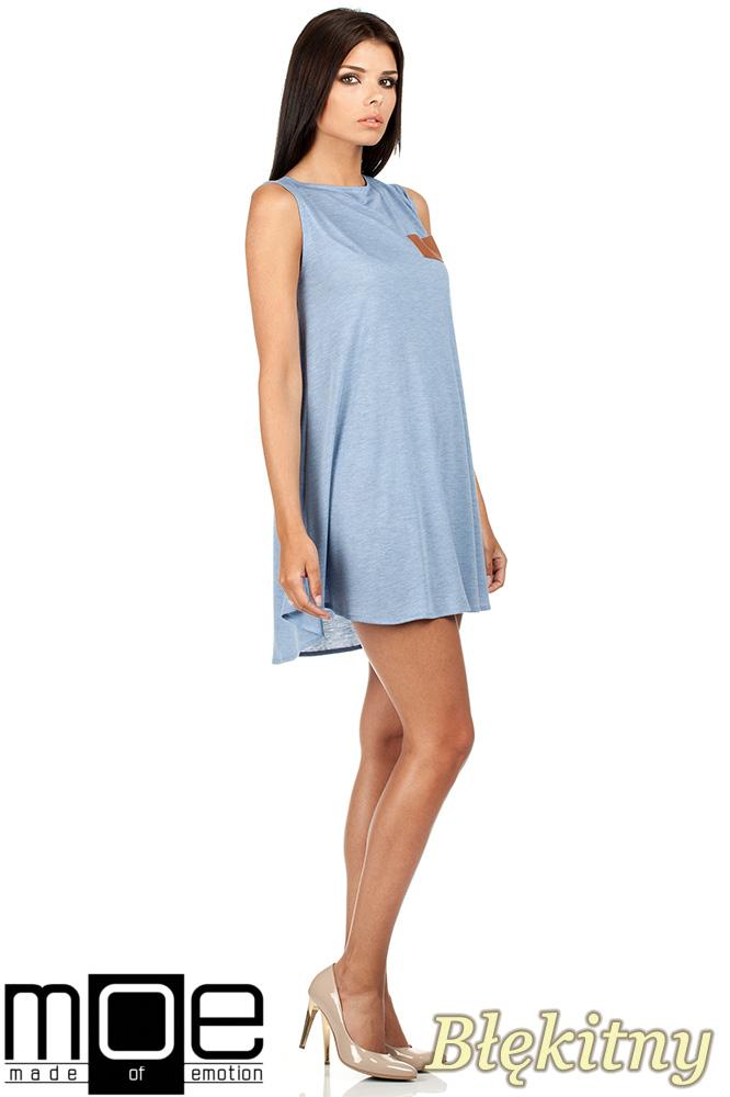 CM0783 Zwiewna letnia tunika z kieszonką - błękitna