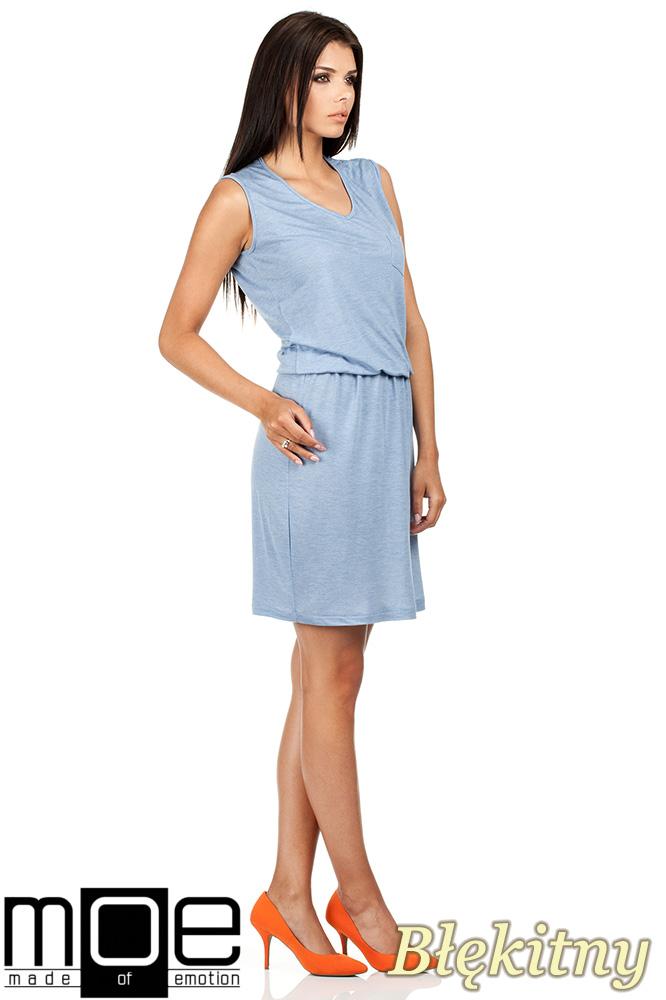CM0784 Letnia zwiewna sukienka bez rękawów - błękitna