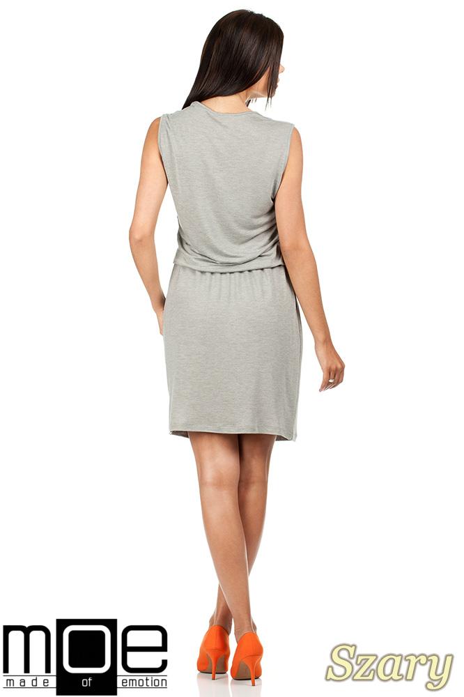 CM0784 Letnia zwiewna sukienka bez rękawów - szara