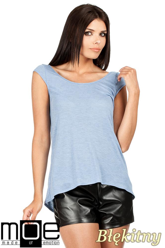 CM0785 Zwiewna bluzka damska z głębokim dekoltem z tyłu - błękitna OUTLET