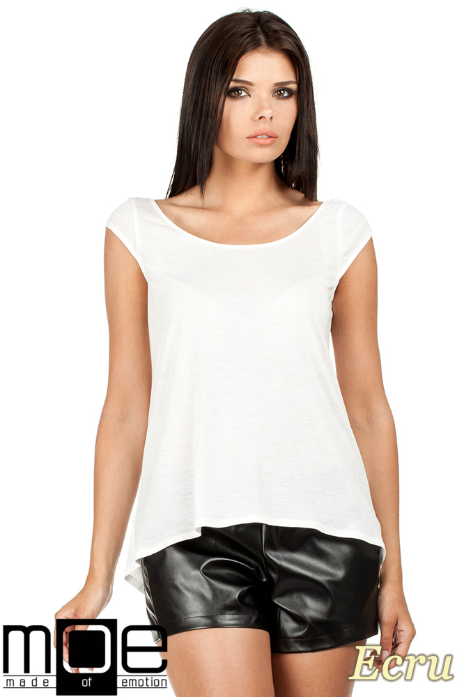 CM0785 Zwiewna bluzka damska z głębokim dekoltem z tyłu - ecru OUTLET