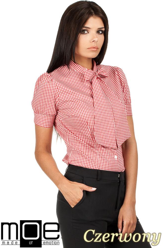 CM0786 Koszula damska w kratkę z kokardą i krótkim rękawem - czerwona